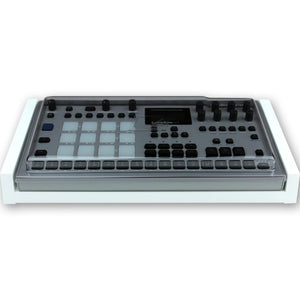 white fonik stand for elektron analog rytm mk2 shown with decksaver cover