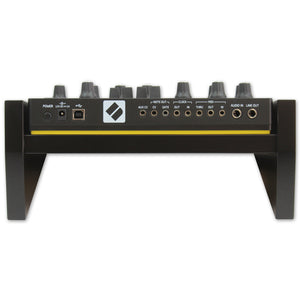 black fonik stand for novation circuit mono station back view shown with circuit mono station