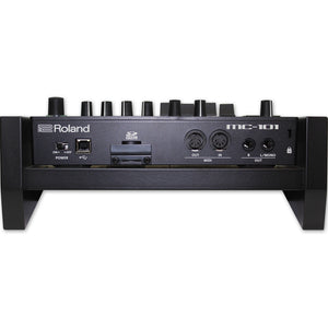 black fonik stand for roland mc-101 back view with mc-101