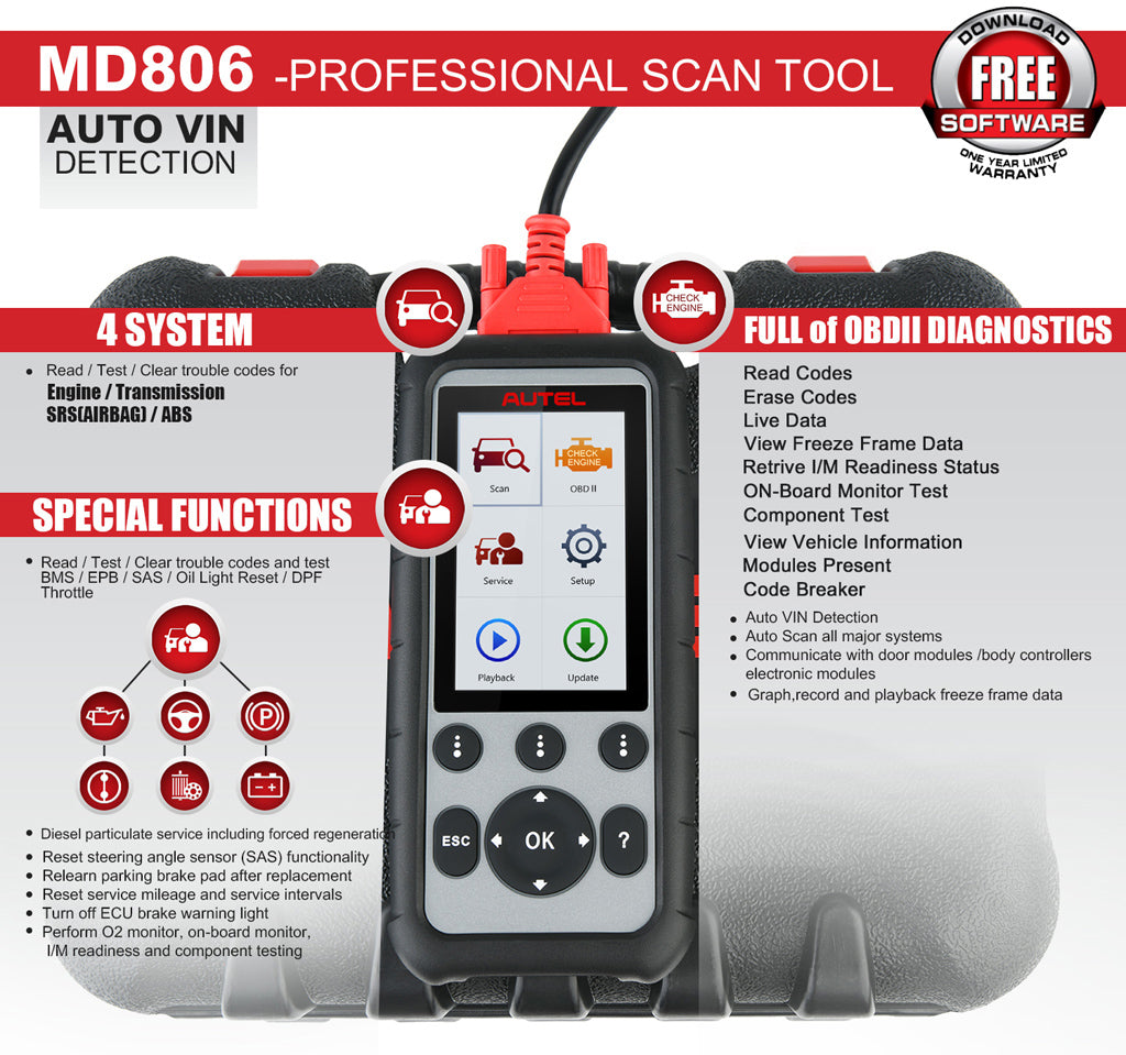 Autel md806 Auto Diagnostic Tool feature