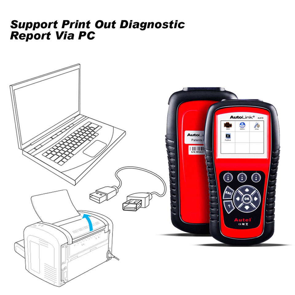 autel al619 support print out diagnostic report via pc