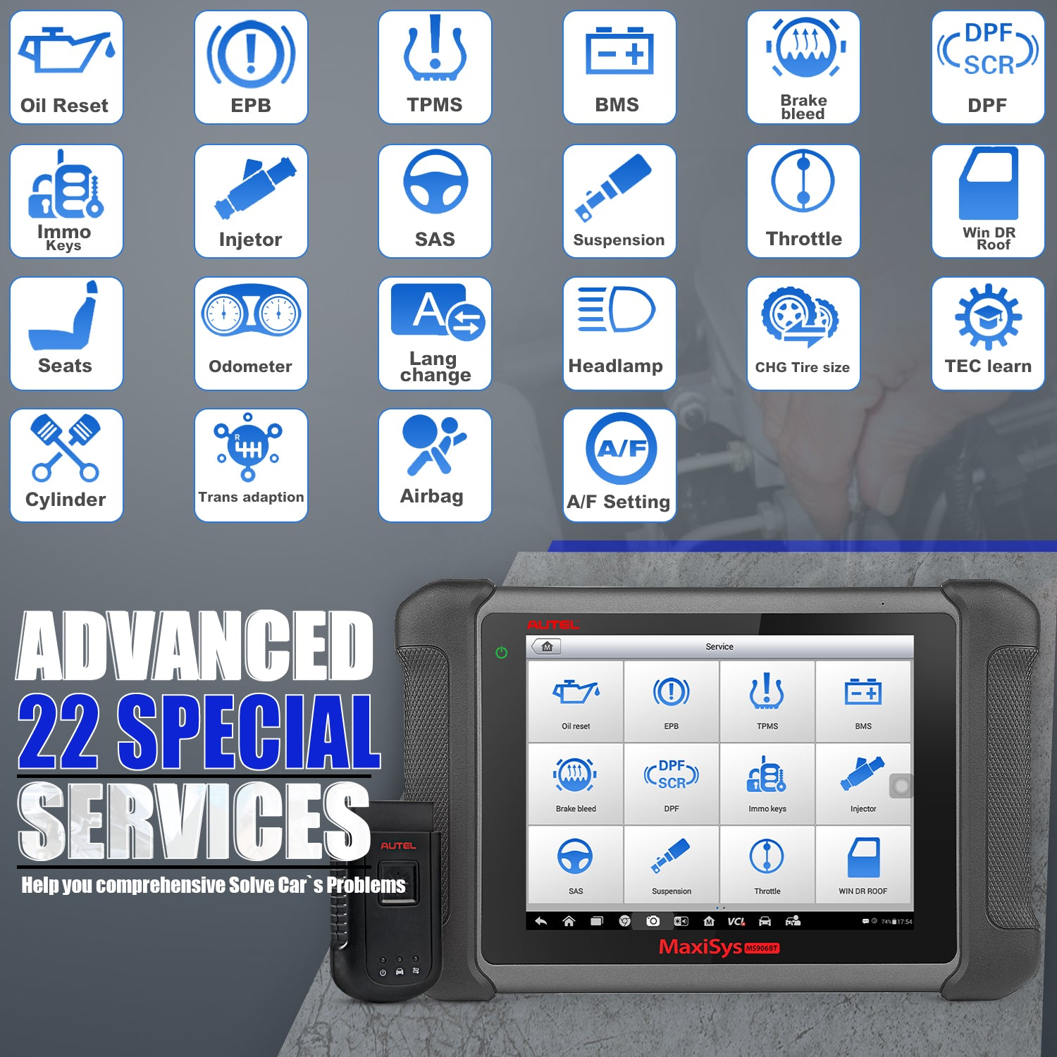 Autel Maxisys MS906BT Bluetooth OBD2 Diagnostic Tool with 23 advanced service