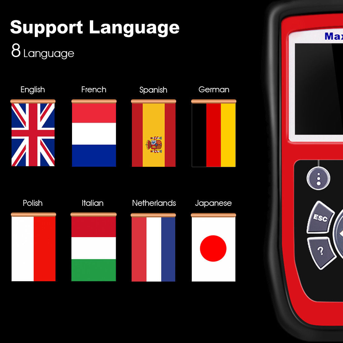 autel maxicheck pro support 8 language