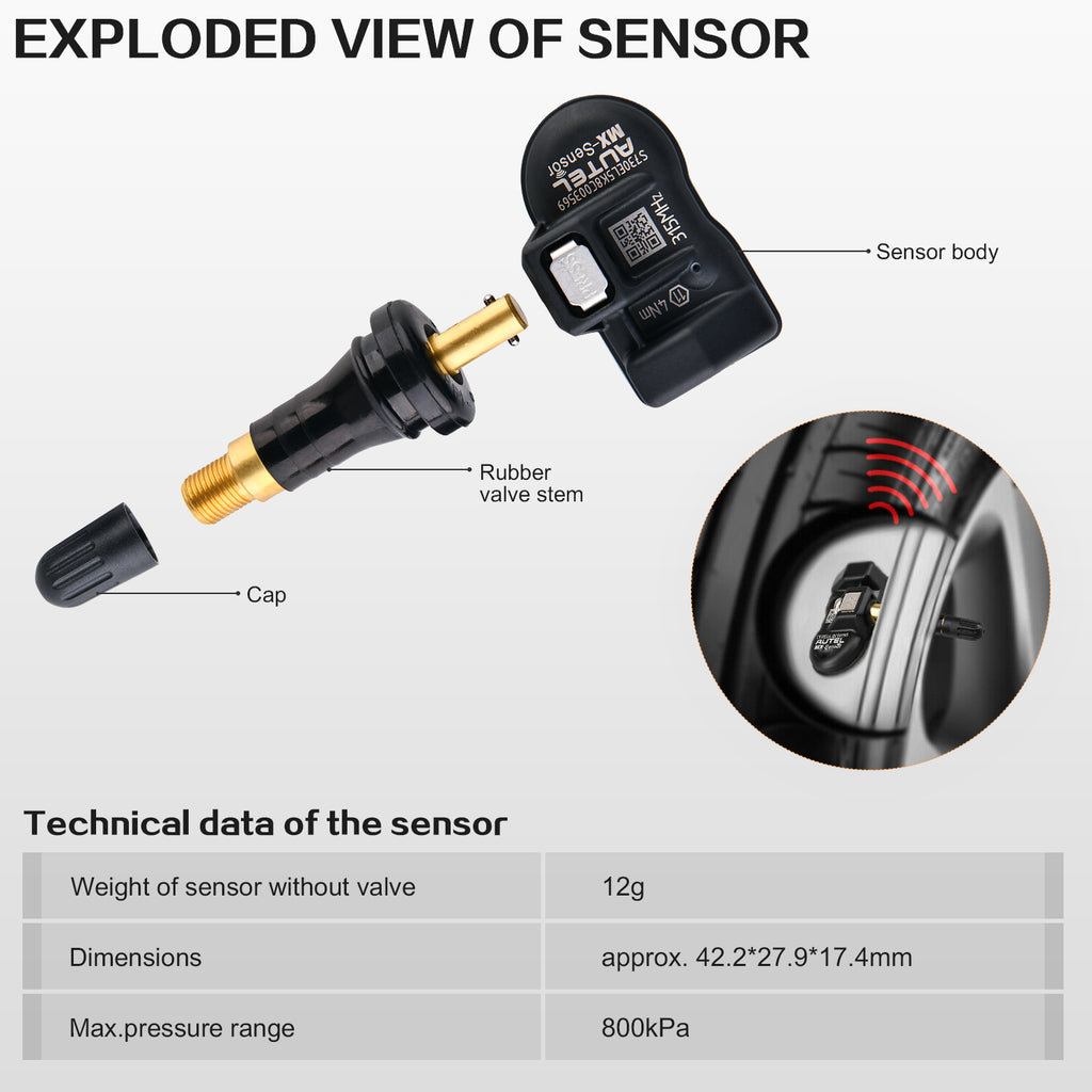 autel mx-sensor details display and technical data