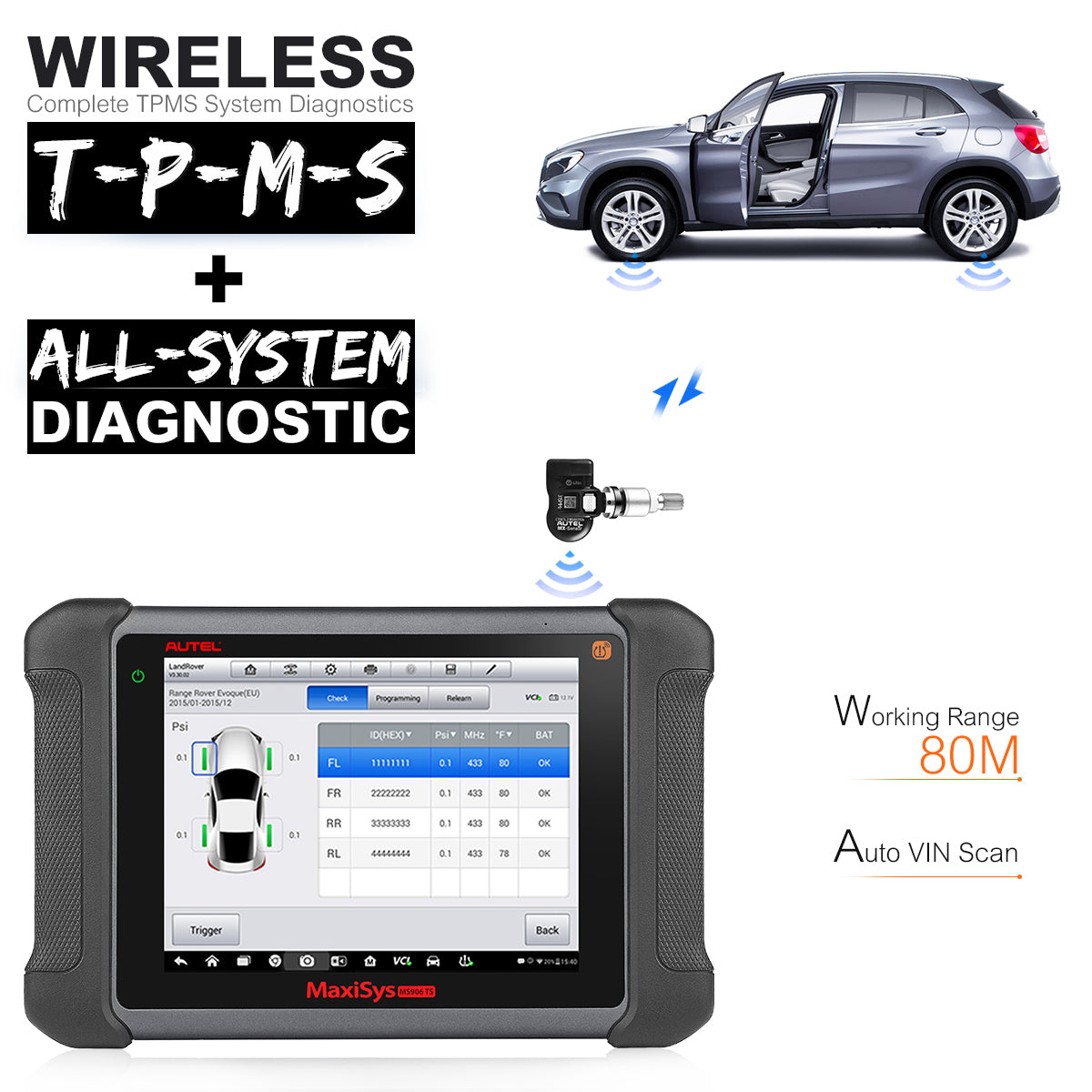 autel ms906ts wireless diagnostic and tpms functions