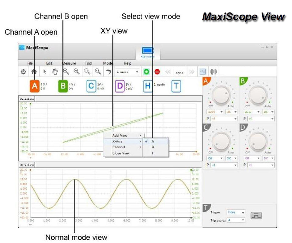 Autel MaxiScope MP408 Automotive Oscilloscope fucntions