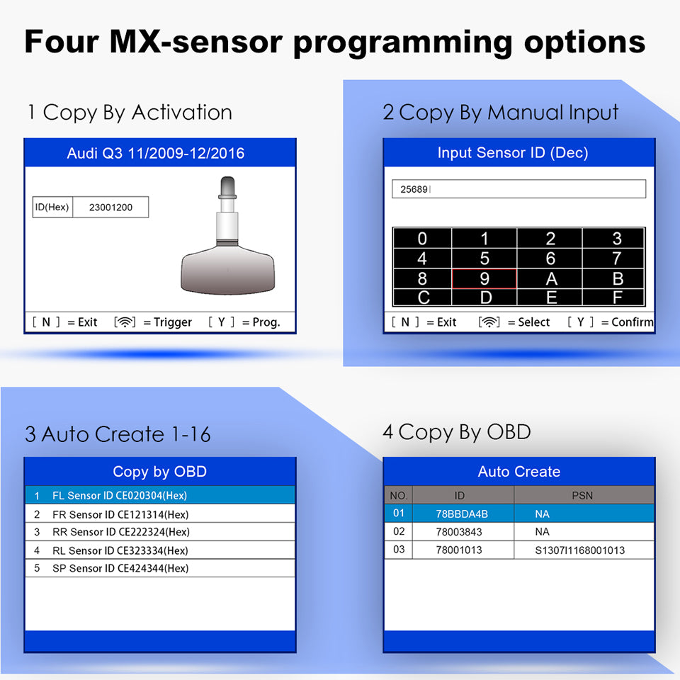 autel ts508k support four options for mx-sensor programming