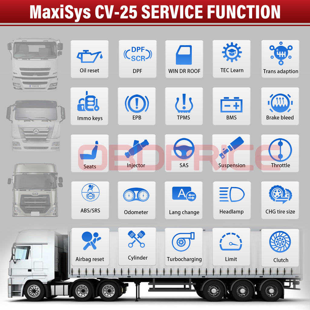 Autel MS908CV Scanner Maxisys CV Heavy Duty Truck Diagnostic Tool with 25 advanced service