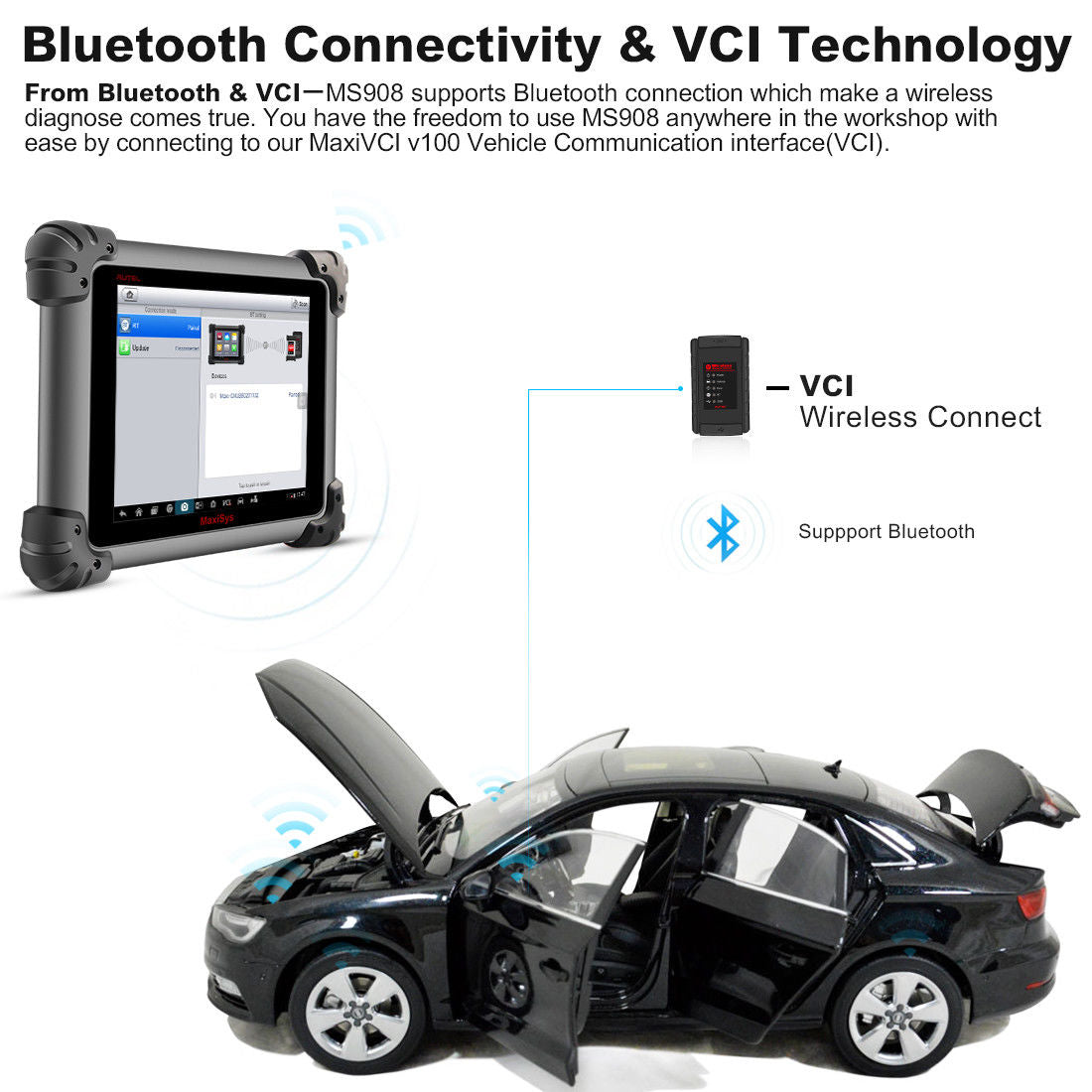 autel ms908 Bluetooth Connect and VCI
