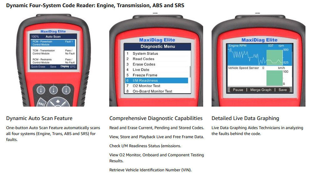 Autel MD802 system diagnostic scan