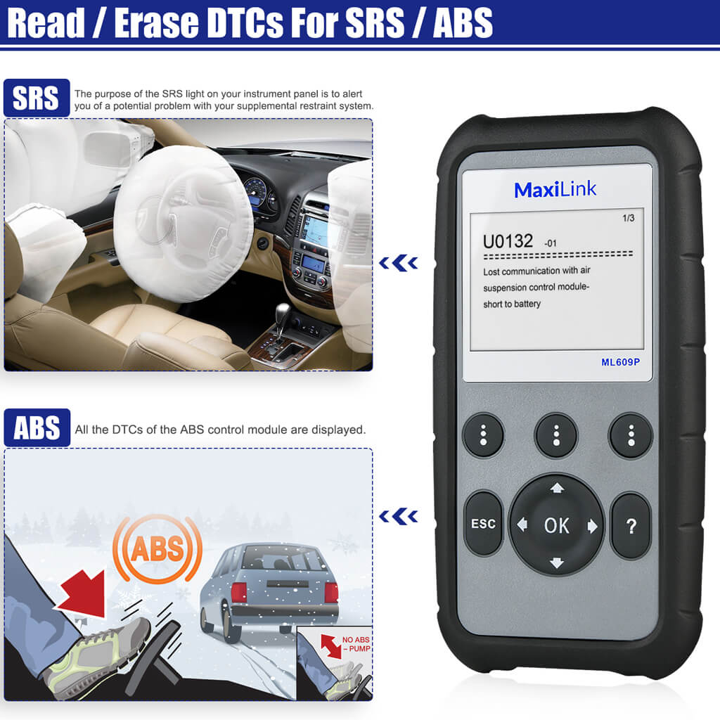 Autel MaxiLink ML609P Car Code Reader ABS/SRS Service