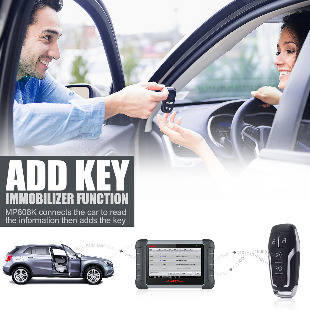Autel MaxiPro MP808K Diagnostic Tool IMMO functions can add keys for your car