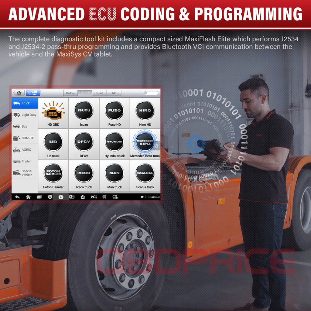 Autel MS908CV Scanner  Maxisys CV Heavy Duty Truck Diagnostic Tool with ecu programming functions