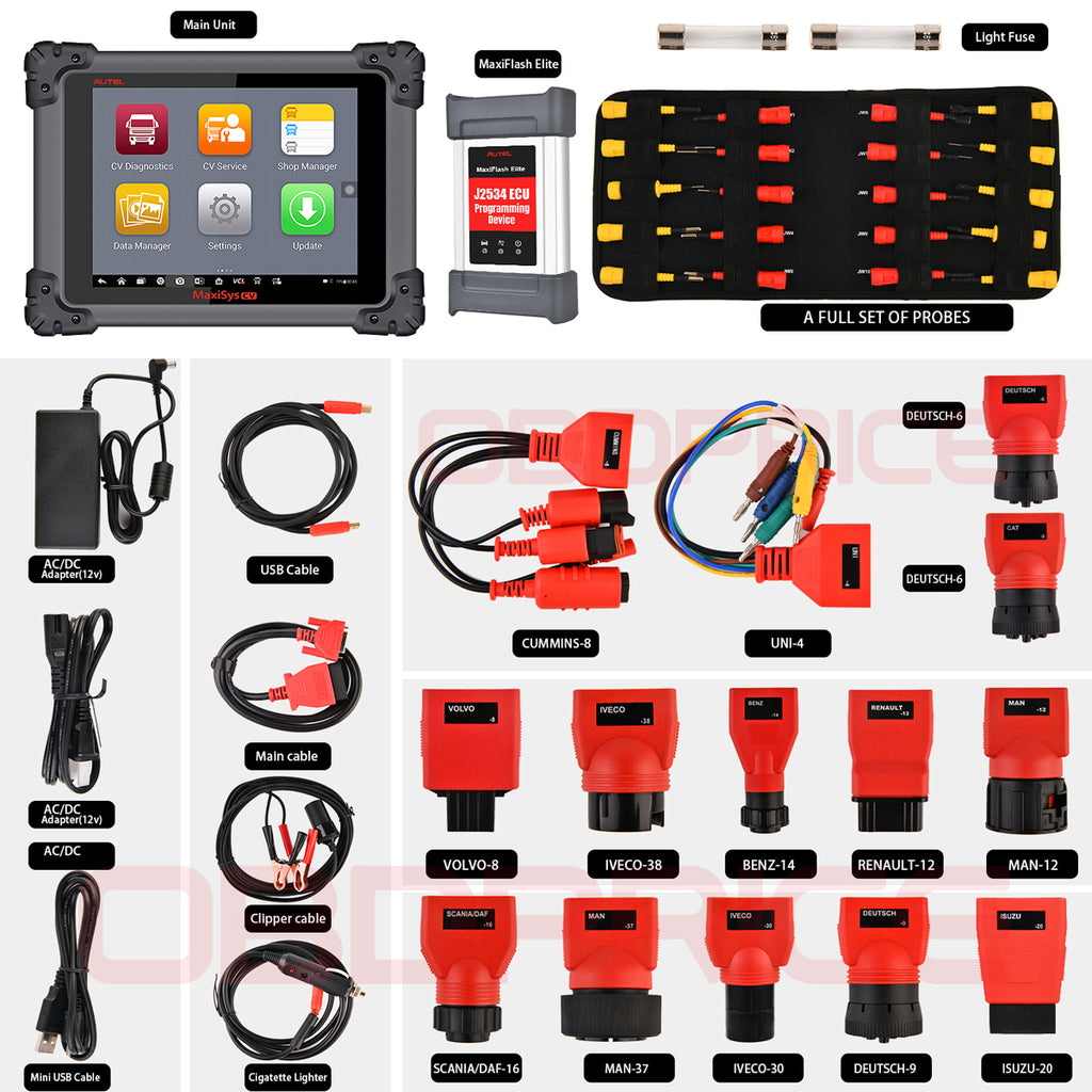 Autel MS908CV Scanner  Maxisys CV Heavy Duty Truck Diagnostic Tool package display