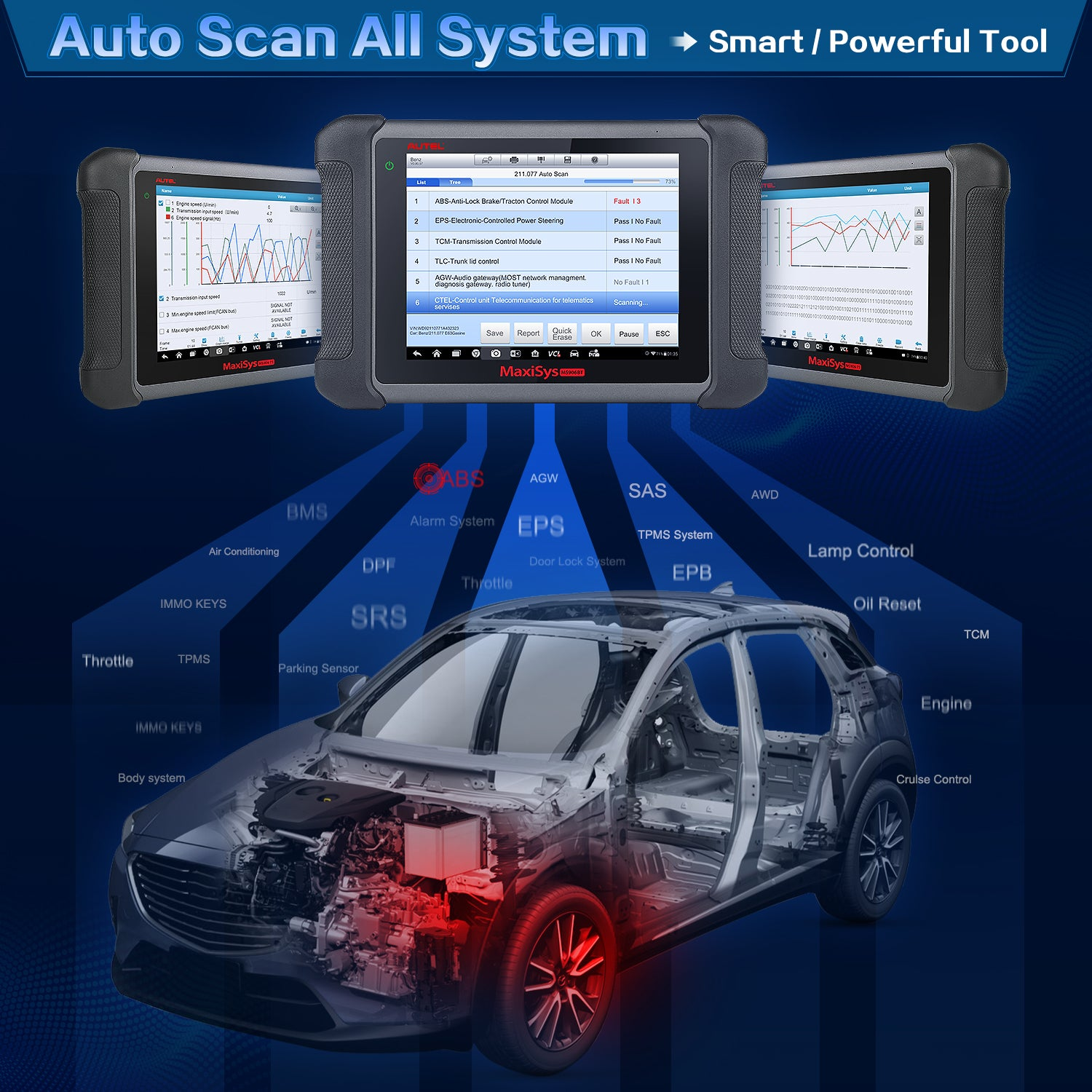autel ms906bt all system diagnostic scanner with mv108 camera