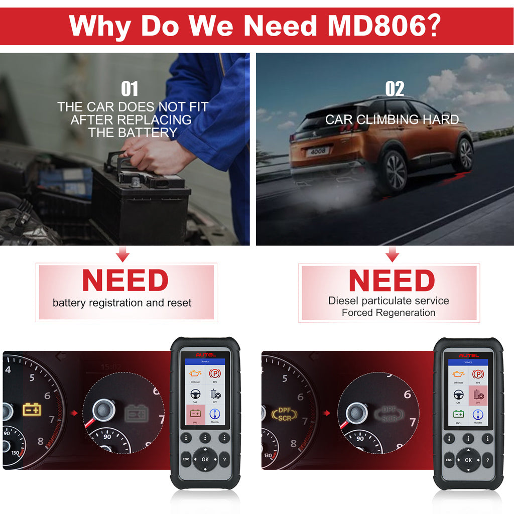 Autel md806 obd scanner 4 system services