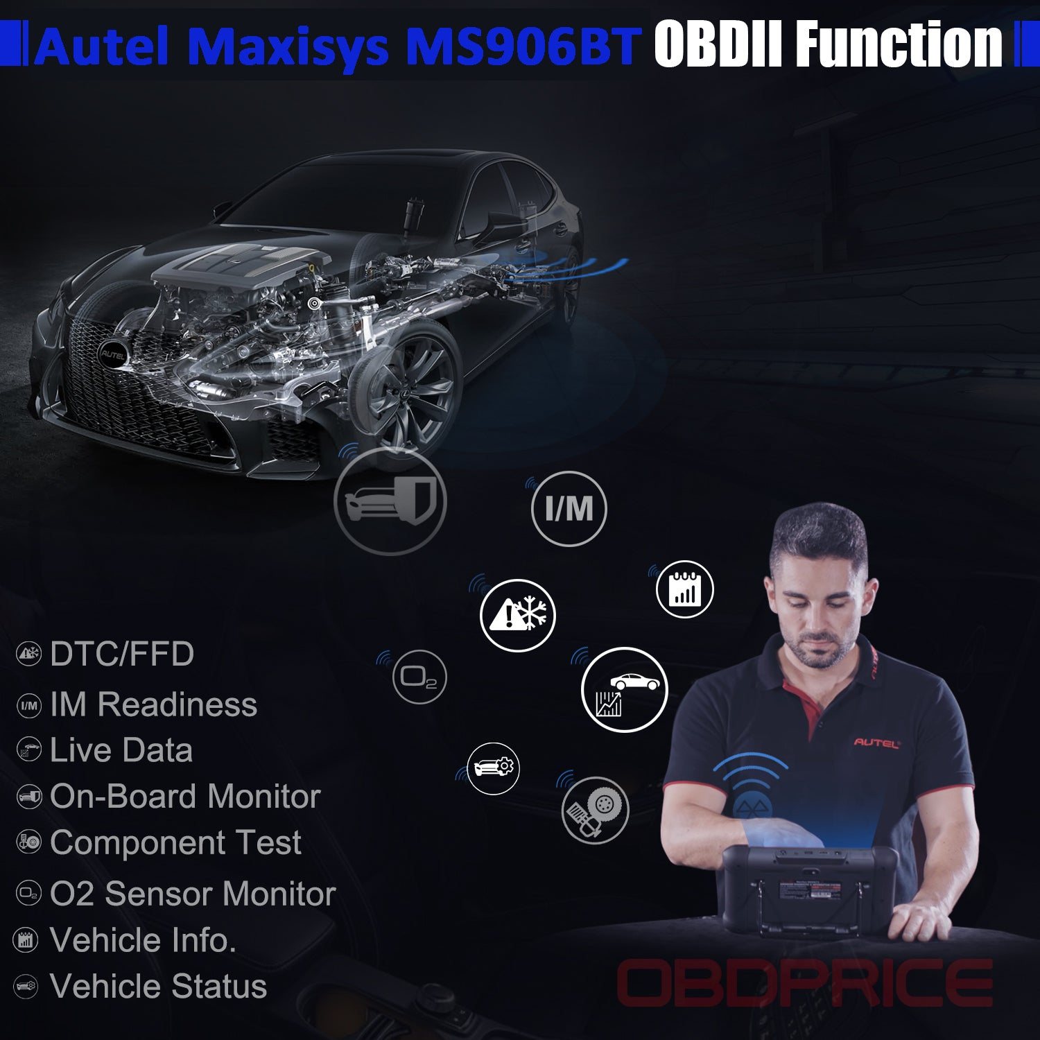Autel Maxisys MS906BT Bluetooth OBD2 Diagnostic Tool complete obd2 functions