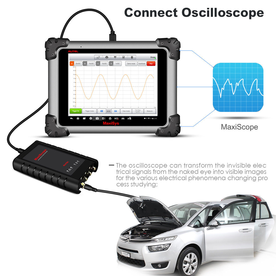autel ms908 Connects to oscilloscope camera mv108
