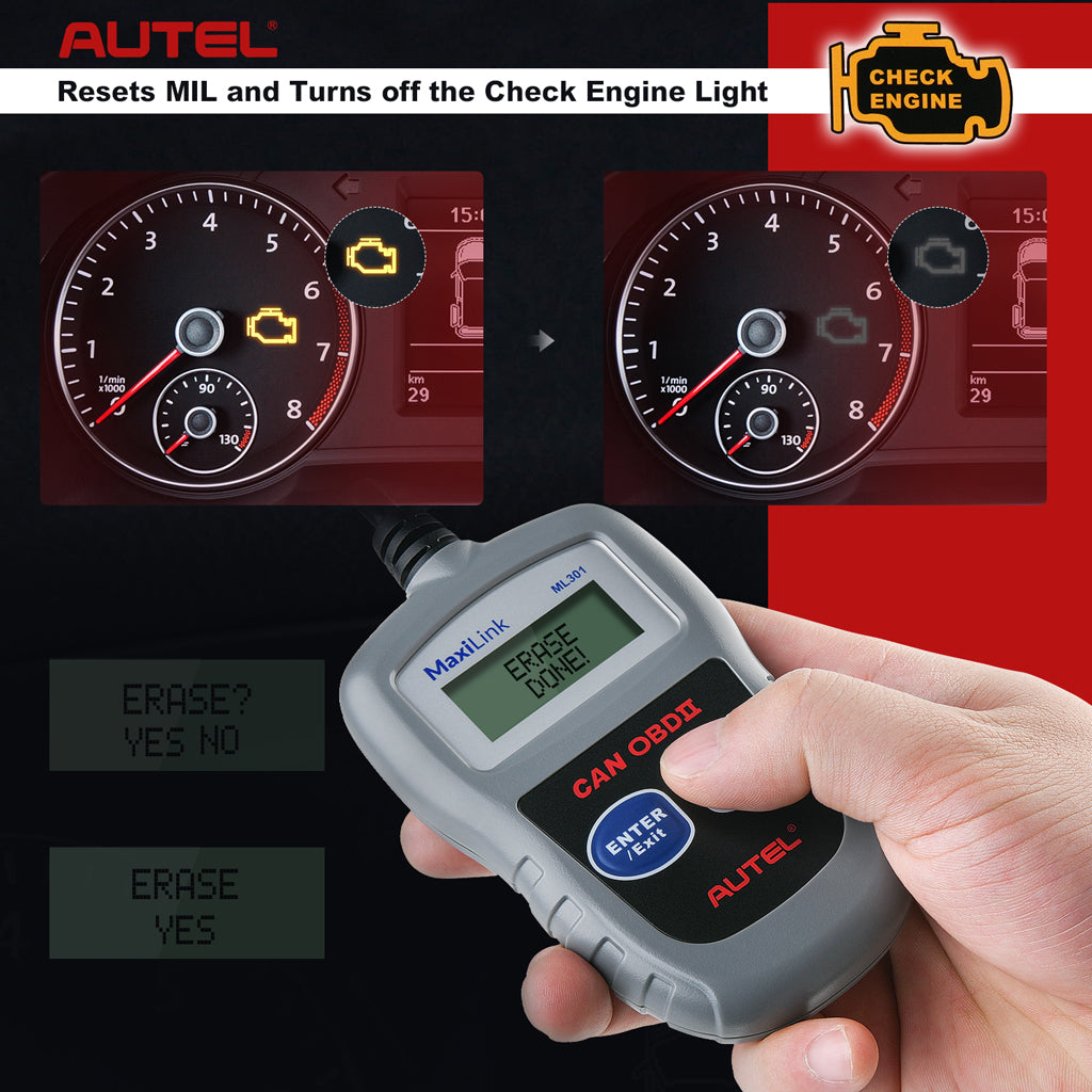 Autel MaxiLink ML301 OBD2 code reader turns off engine lights