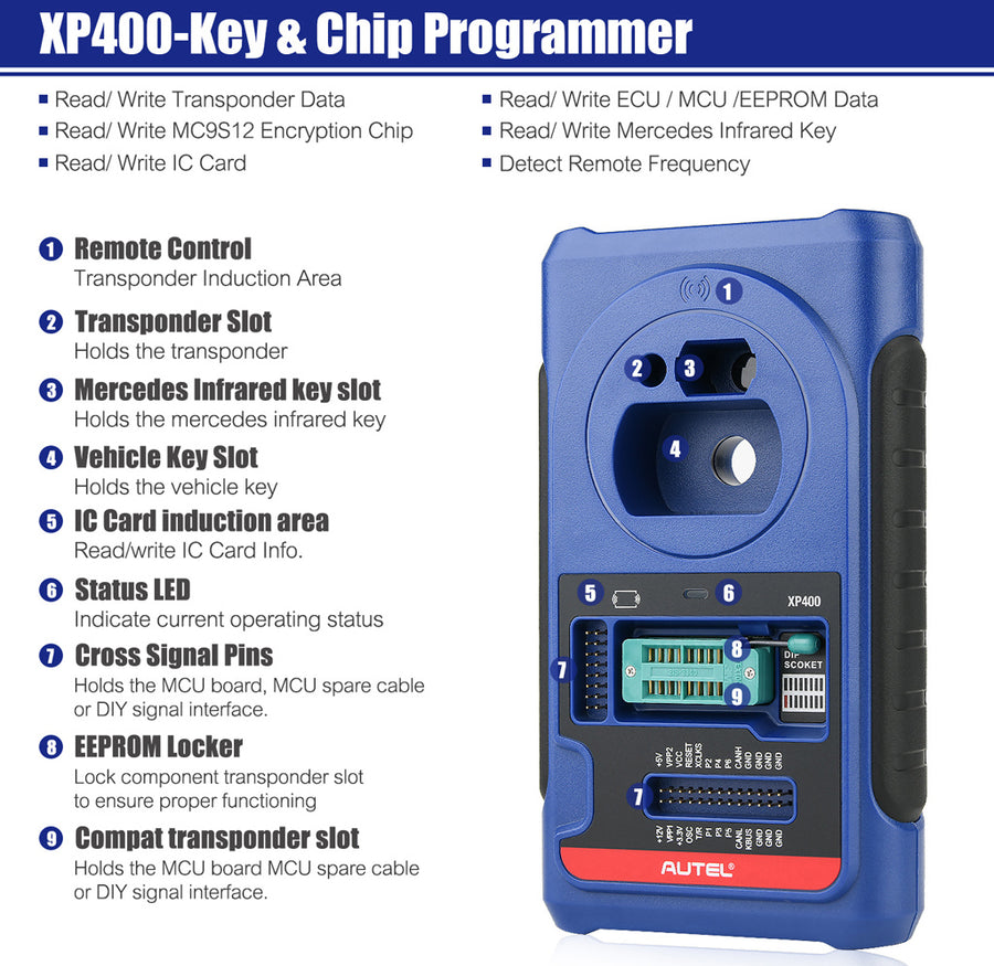 Autel XP400 Key Chip Programmer Feature Introduce