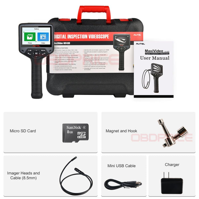 Autel Maxivideo MV480 Dual-camera Inspection Camera package list