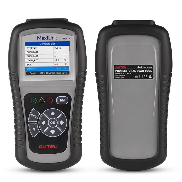 Autel MaxiLink ML519 OBD2 code reader back and front show