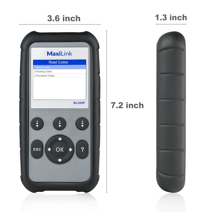Autel MaxiLink ML609P Car Code Reader size