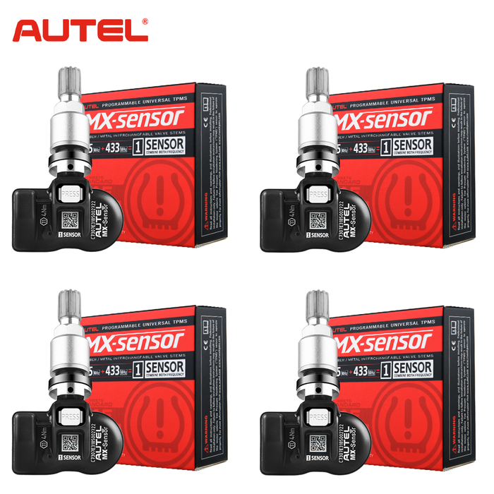 4pcs Autel TPMS MX-Sensor 315MHz & 433MHz 2in1 Tire Pressure Sensors Winter Tire Exchange Universal Clamp In