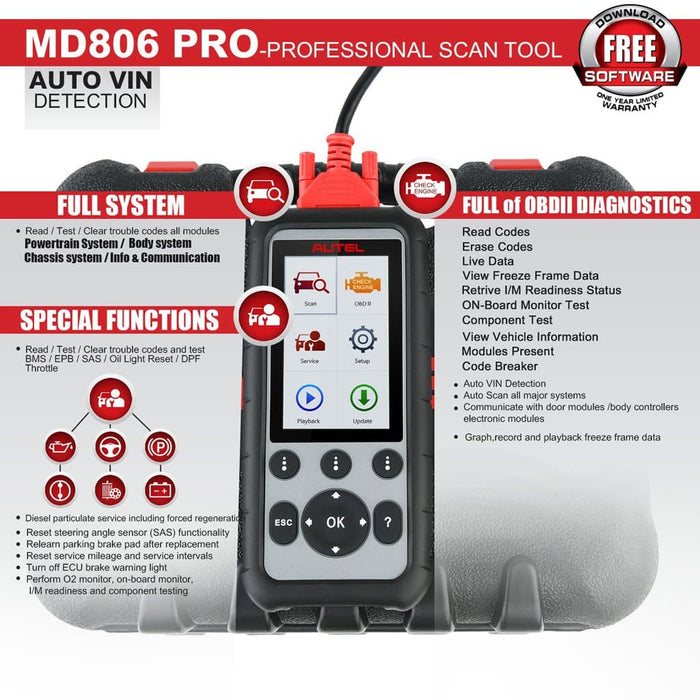 Autel md806 pro scanner functions overview