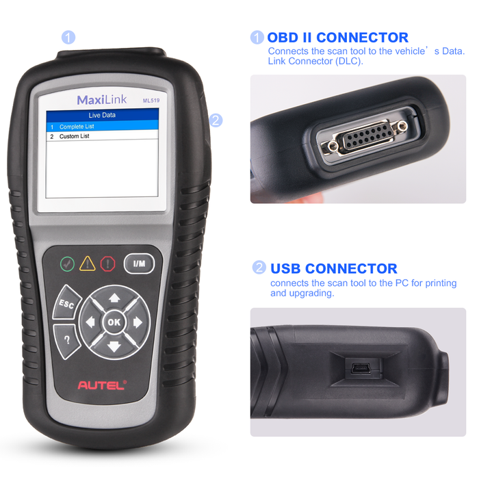 Autel MaxiLink ML519 OBD2 code reader interface