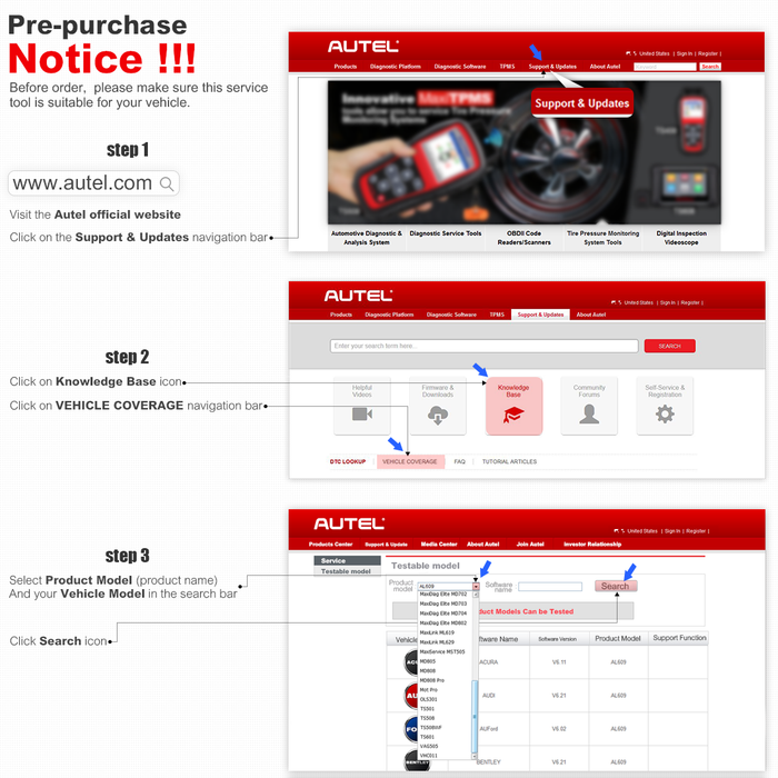 Autel MaxiDiag MD805 All System Auto Code Reader OBD2 Scanner Support OLS  BMS Airbag Functions