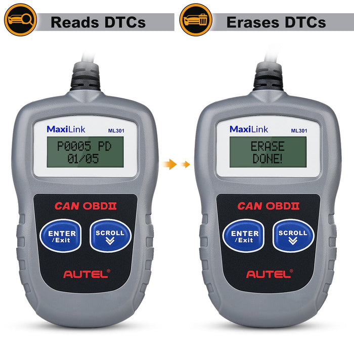 Autel MaxiLink ML301 OBD2 code reader read & eraze car fault code