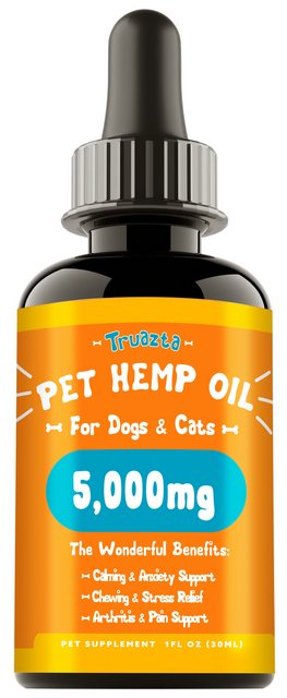 TRUAZTA 5000mg Hemp Oil For Dogs for Pain Relief & Dog Anxiety Relief, Natural Hemp Oil for Pets, Stress Relief Essential Oil For Dogs & Cats