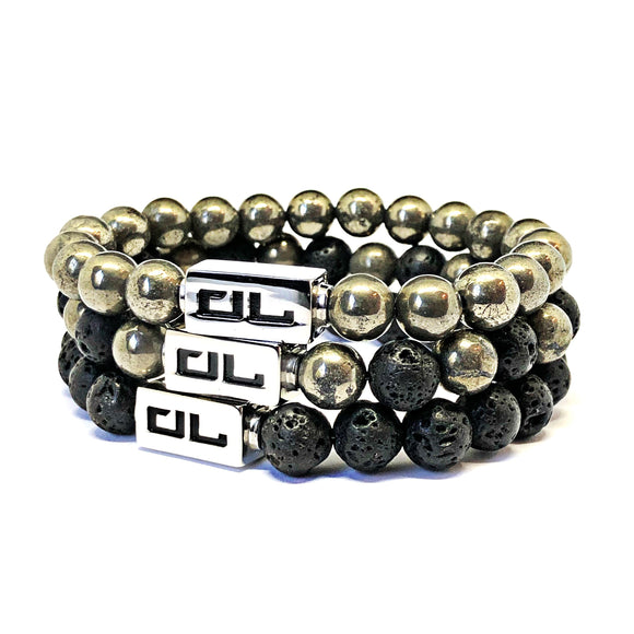 Pyrite And Lava Stone 8mm Bracelet Stack