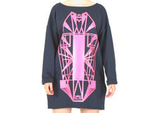 Load image into Gallery viewer, Vietto Urban Art deco dress, blue & neon pink