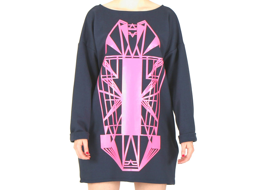 Vietto Urban Art deco dress, blue & neon pink