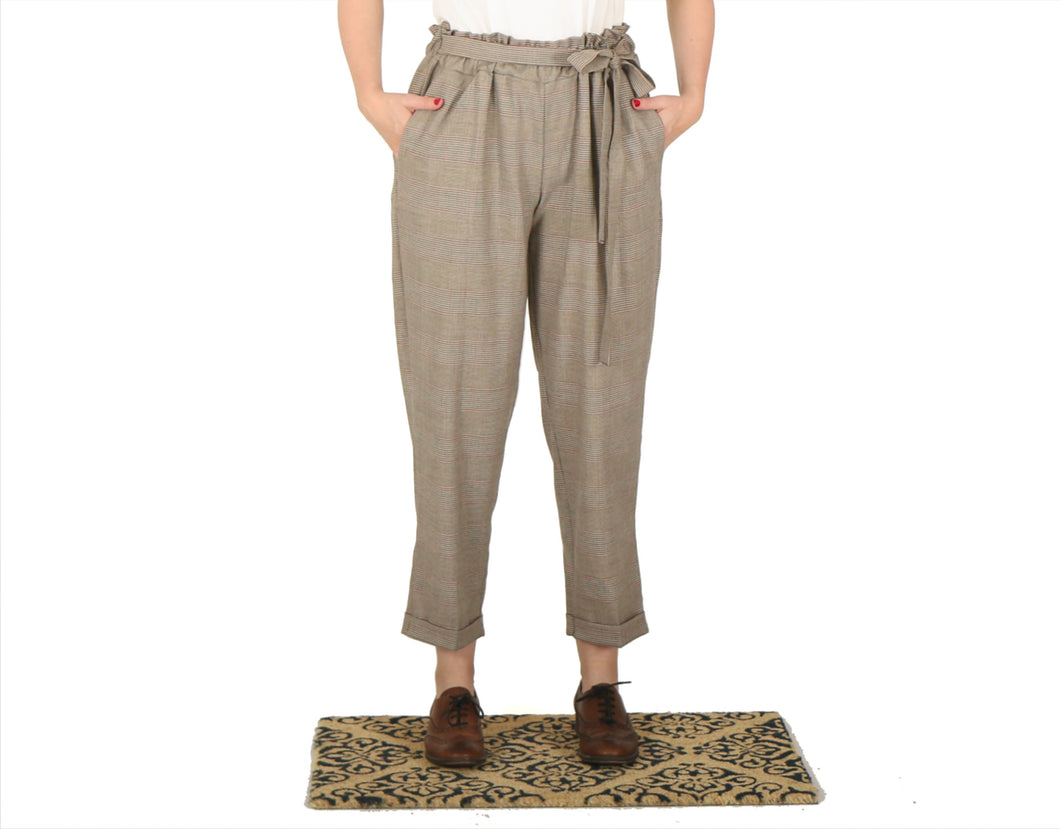 Vietto Loose paperbag trousers, light brown and red plaid