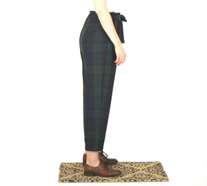 Vietto Loose paperbag trousers, green & blue plaid
