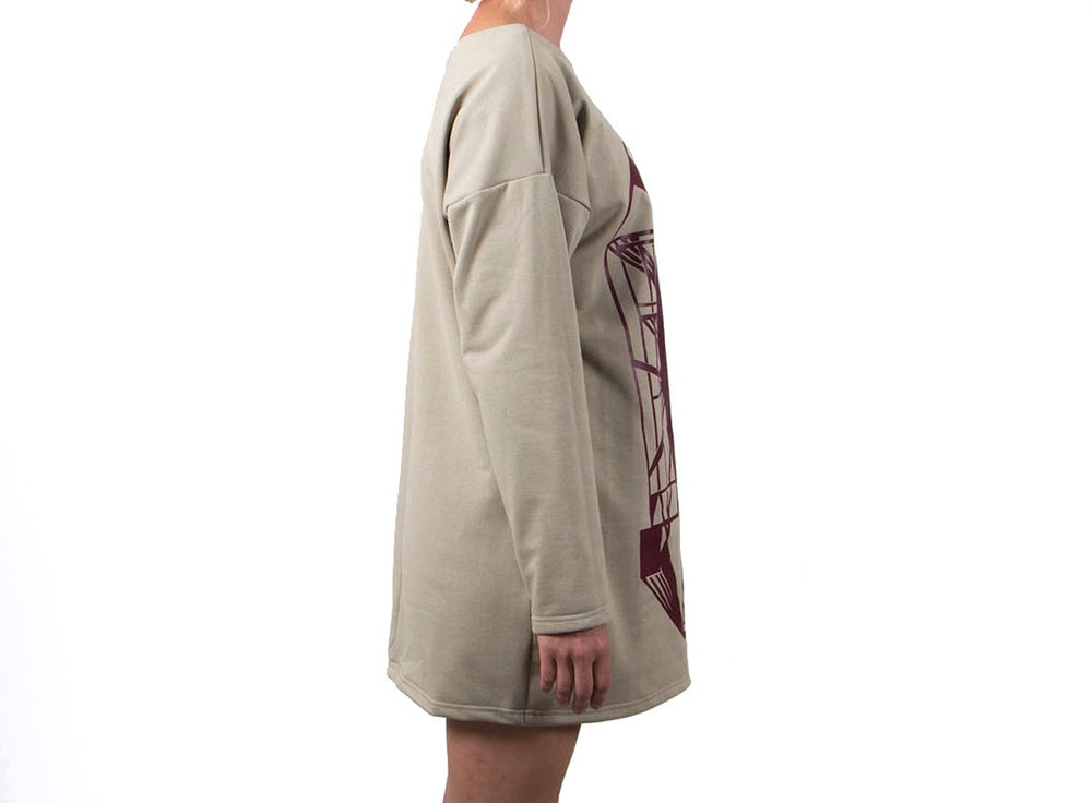 Vietto Urban Art deco dress, beige & burgundy