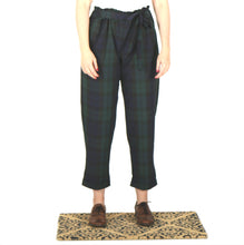 Load image into Gallery viewer, Vietto Loose paperbag trousers, green & blue plaid