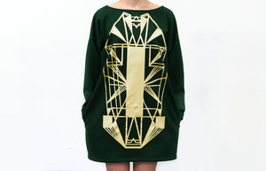Vietto Urban Art deco dress, green & gold