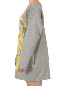 Vietto Urban Art deco dress, grey & yellow