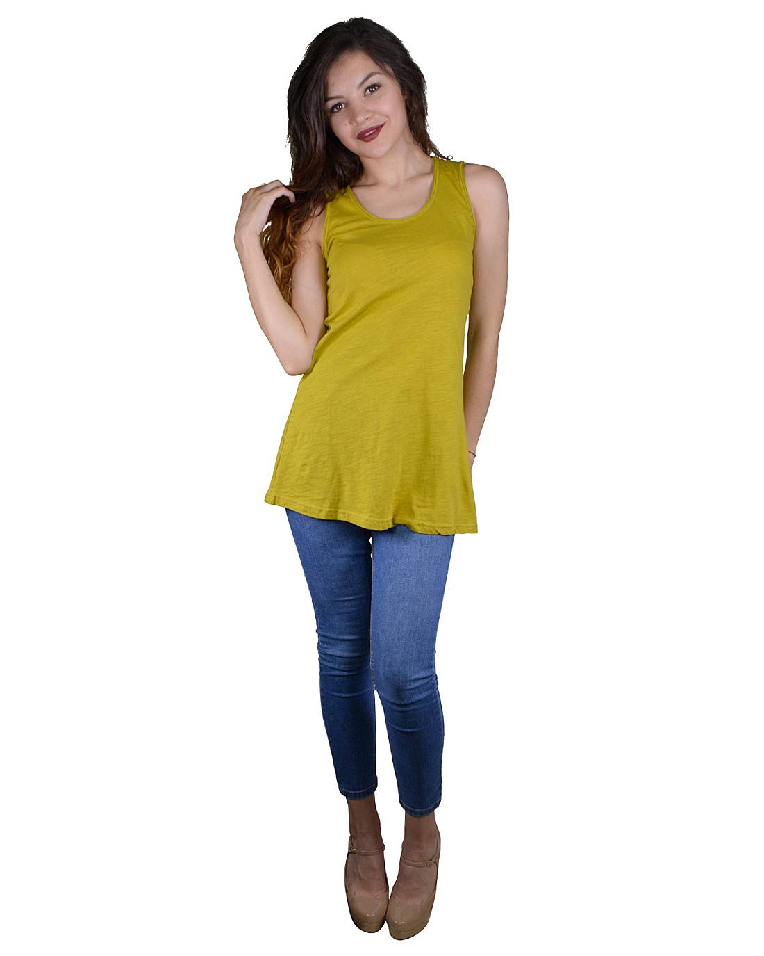 Solid Sleeveless Tunic Top with Stylish Back Design