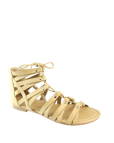 Tie Up Pattern Flat Gladiators