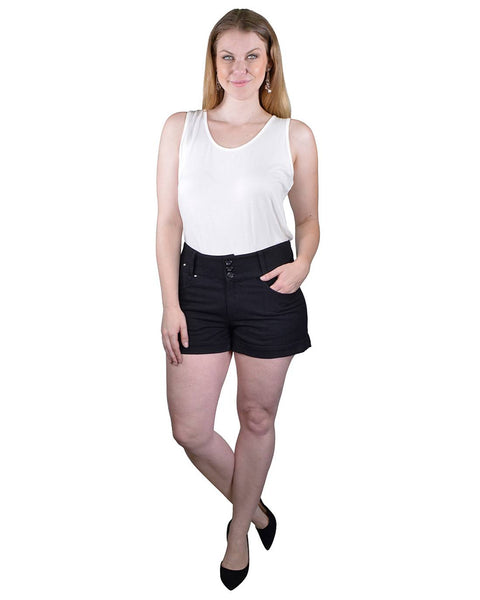 Plus Size Solid High Waist Shorts