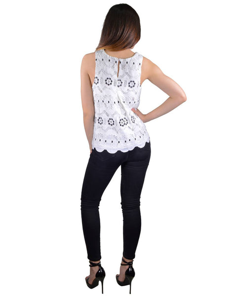 Textured Cutout Pattern Scalloped Hem Top