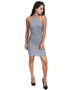 Halter fitted sheath dress w/cutaway back
