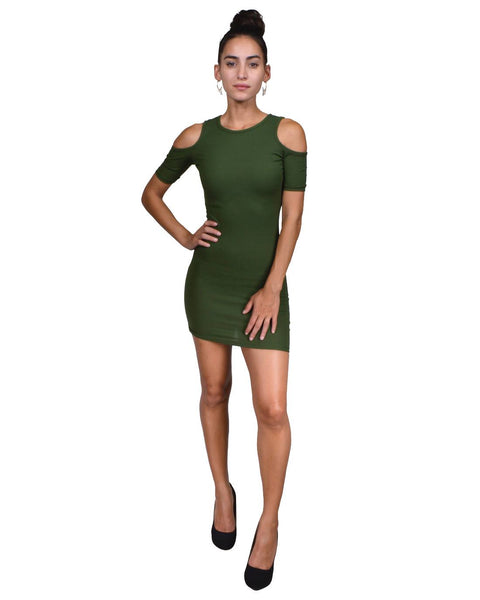 Fashion crew neck, cold shoulder fitted sheath dress