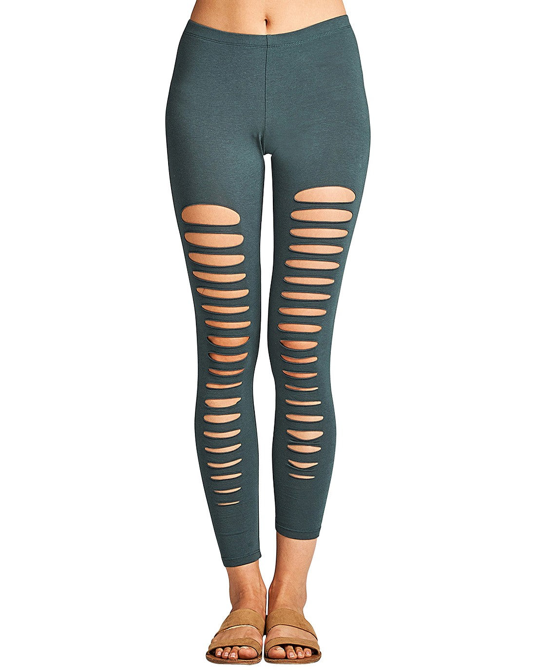 Ripped design stretch-knit leggings