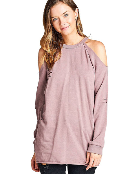 Open-shoulder design French terry knit pullover